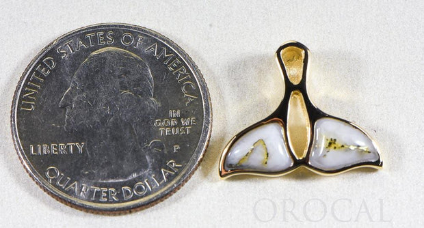 "Gold Quartz Pendant Whales Tail ""Orocal"" PWT24HQ Genuine Hand Crafted Jewelry - 14K Gold Yellow Gold Casting"