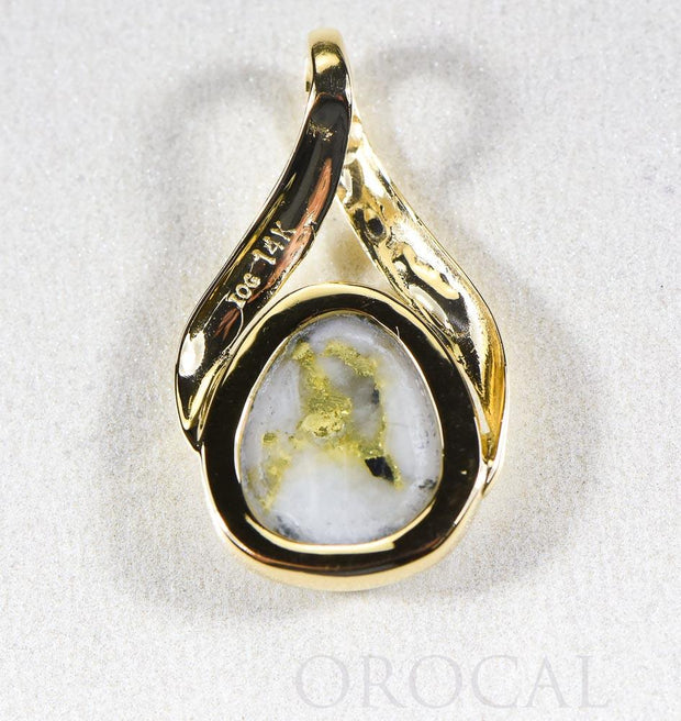"Gold Quartz Pendant  ""Orocal"" PN782QX Genuine Hand Crafted Jewelry - 14K Gold Yellow Gold Casting"