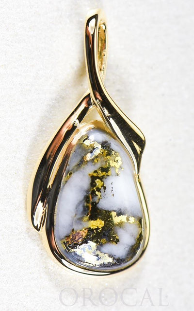 "Gold Quartz Pendant  ""Orocal"" PN824QX Genuine Hand Crafted Jewelry - 14K Gold Yellow Gold Casting"