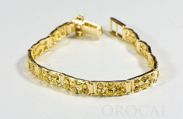 "Gold Nugget Bracelet ""Orocal"" BFFB6L10 Genuine Hand Crafted Jewelry - 14K Gold Casting"