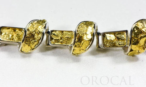 "Gold Nugget Bracelet ""Orocal"" BJ1000N Genuine Hand Crafted Jewelry - 14K Gold Casting"