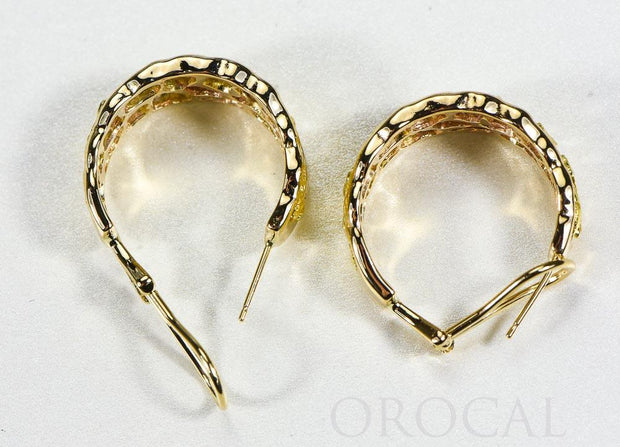 "Gold Nugget Earrings ""Orocal"" EH184 Genuine Hand Crafted Jewelry - 14K Gold Casting"