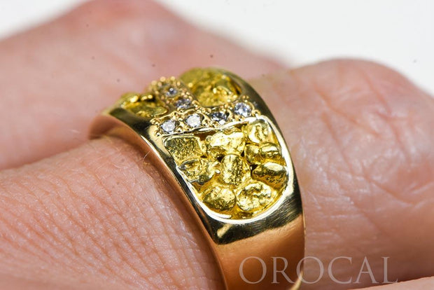 "Gold Nugget Ladies Ring ""Orocal"" RL1114D22N Genuine Hand Crafted Jewelry - 14K Casting"