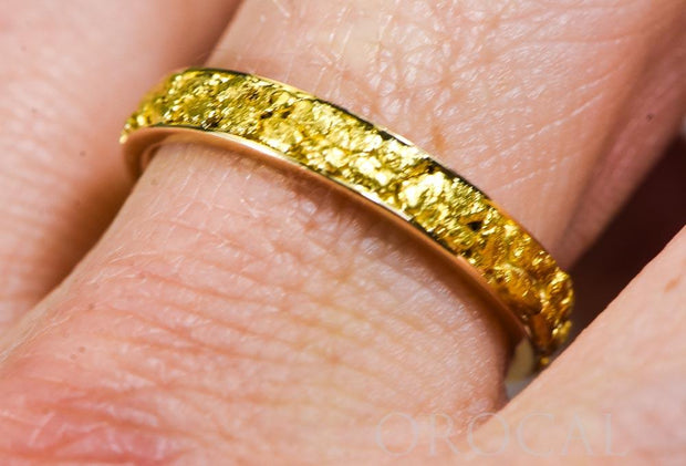 "Gold Nugget Men's Ring ""Orocal"" RM4MM Genuine Hand Crafted Jewelry - 14K Casting"