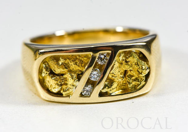 "Gold Nugget Men's Ring ""Orocal"" RM816D10.5 Genuine Hand Crafted Jewelry - 14K Casting"