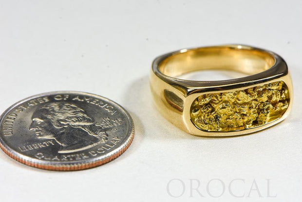 "Gold Nugget Men's Ring ""Orocal"" RM816N Genuine Hand Crafted Jewelry - 14K Casting"