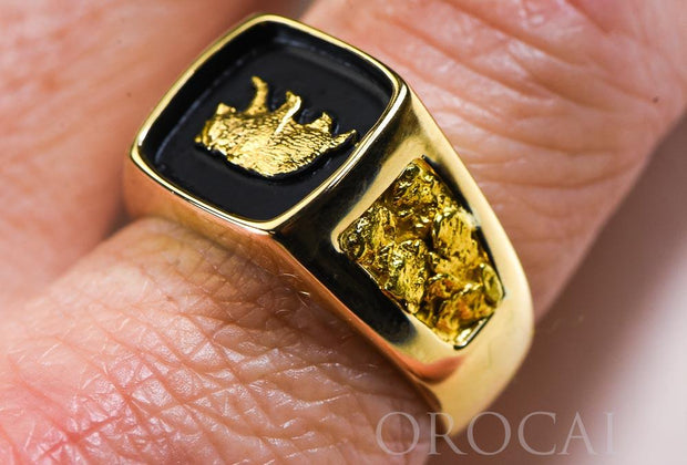 "Gold Nugget Men's Ring ""Orocal"" RMAJ083 Genuine Hand Crafted Jewelry - 14K Casting"