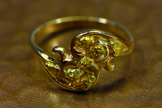 "Gold Nugget Ladies Ring ""Orocal"" RL186 Genuine Hand Crafted Jewelry - 14K Casting"