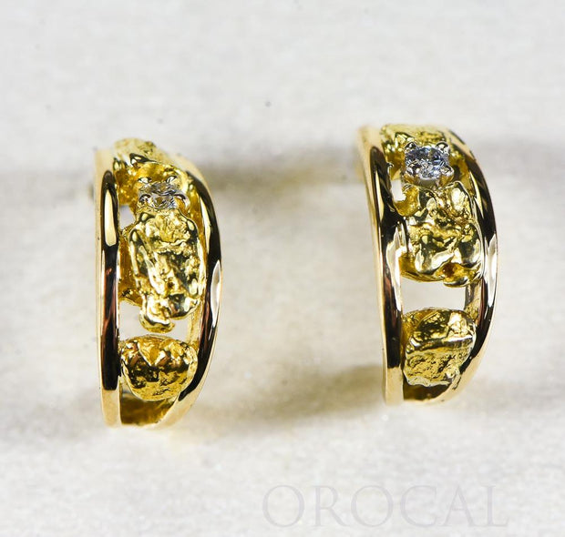 "Gold Nugget Earrings ""Orocal"" EAJ030D Genuine Hand Crafted Jewelry - 14K Gold Casting"