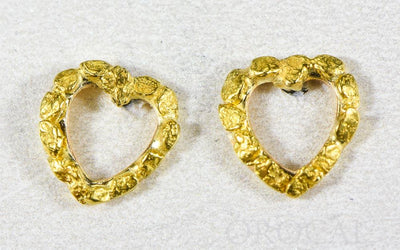 "Gold Nugget Earrings ""Orocal"" EHE360 Genuine Hand Crafted Jewelry - 14K Gold Casting"