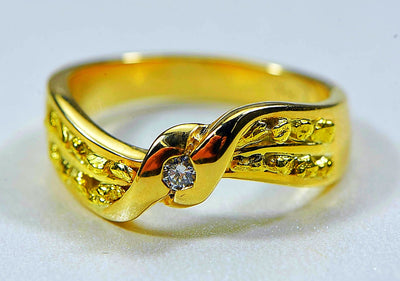 "Gold Nugget Ladies Ring ""Orocal"" RL404D5 Genuine Hand Crafted Jewelry - 14K Casting"