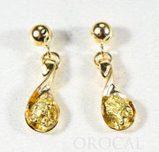 "Gold Nugget Earrings ""Orocal"" EAJ054N/PD Genuine Hand Crafted Jewelry - 14K Gold Casting"