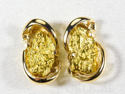 "Gold Nugget Earrings ""Orocal"" EN784SN Genuine Hand Crafted Jewelry - 14K Gold Casting"