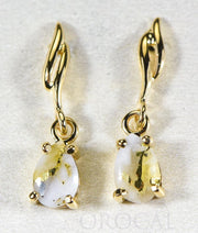 "Gold Quartz Earrings ""Orocal"" EN570SQ Genuine Hand Crafted Jewelry - 14K Gold Yellow Gold Casting"