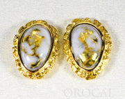 "Gold Quartz Earrings ""Orocal"" EN708NQ Genuine Hand Crafted Jewelry - 14K Gold Yellow Gold Casting"