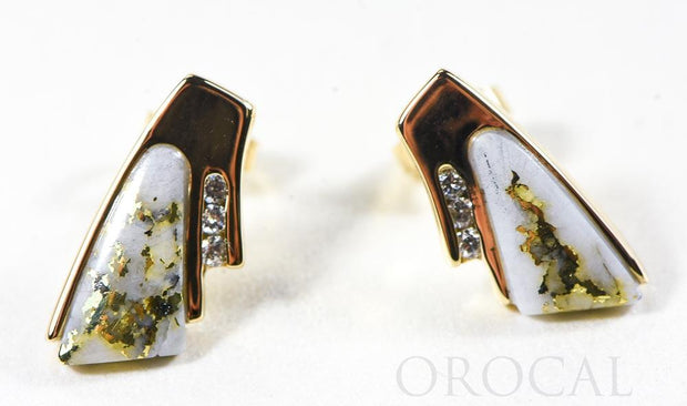 "Gold Quartz Earrings ""Orocal"" EDL129D9Q Genuine Hand Crafted Jewelry - 14K Gold Casting"