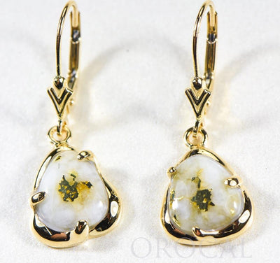 "Gold Quartz Earrings ""Orocal"" ESC115XSQ/LB Genuine Hand Crafted Jewelry - 14K Gold Casting"