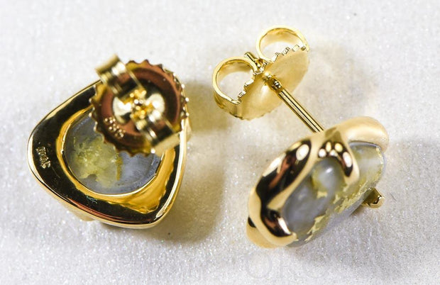 "Gold Quartz Earrings ""Orocal"" ESC115XSQ Genuine Hand Crafted Jewelry - 14K Gold Casting"