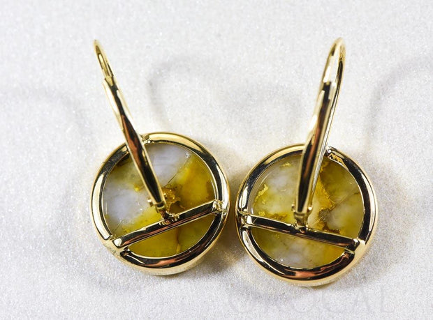 "Gold Quartz Earrings ""Orocal"" ELBBZ12MMQ Genuine Hand Crafted Jewelry - 14K Gold Casting"