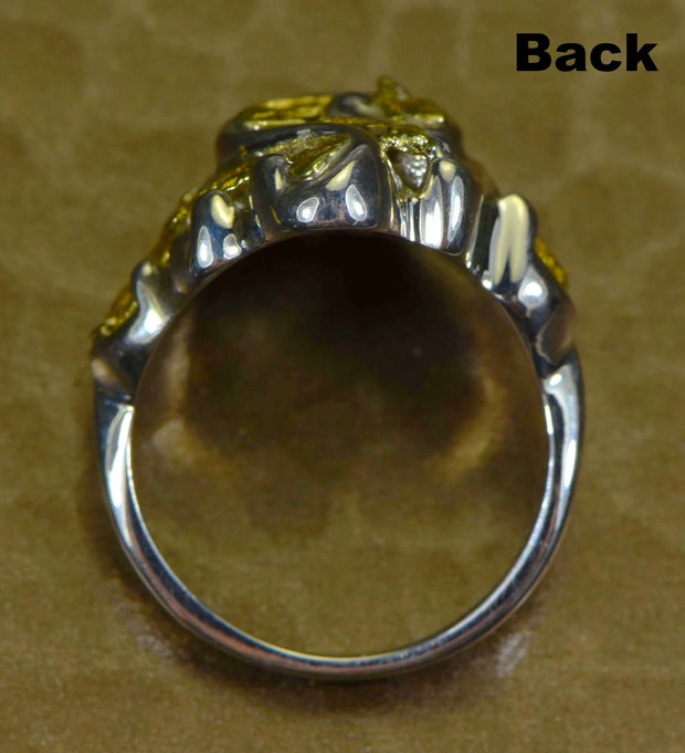 "Gold Nugget Ladies Ring ""Orocal"" RL462SS Genuine Hand Crafted Jewelry"