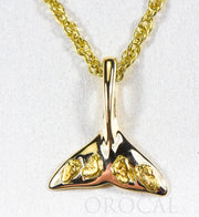 "Gold Nugget Pendant Whales Tail ""Orocal"" PWT101X Genuine Hand Crafted Jewelry - 14K Gold Yellow Gold Casting"