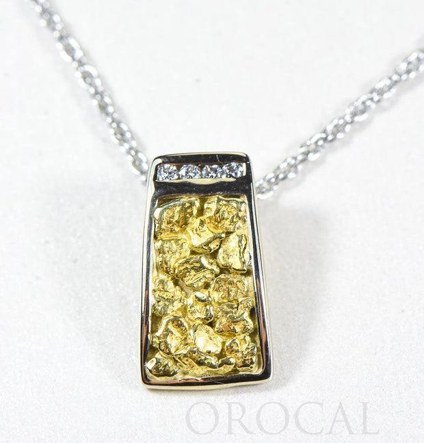 "Gold Nugget Pendant ""Orocal"" PN892DNWX Genuine Hand Crafted Jewelry - 14K Gold White Gold Casting"