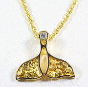 "Gold Nugget Pendant Whales Tail ""Orocal"" PWT26DNX Genuine Hand Crafted Jewelry - 14K Gold Yellow Gold Casting"