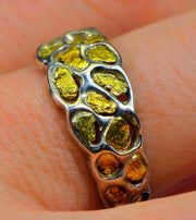 "Gold Nugget Men's Ring ""Orocal"" RM210NSS Genuine Hand Crafted Jewelry"