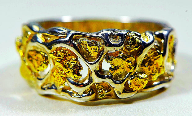 "Gold Nugget Men's Ring ""Orocal"" RM184SS Genuine Hand Crafted Jewelry-Silver"