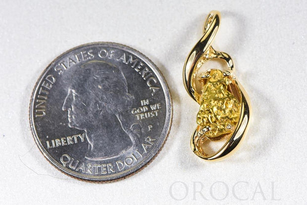 "Gold Nugget Pendant ""Orocal"" PN784NX Genuine Hand Crafted Jewelry - 14K Gold Yellow Gold Casting"