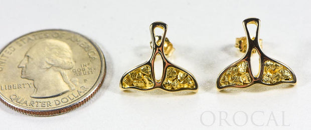 "Gold Nugget Whale Tail Earrings ""Orocal"" EWT22N Genuine Hand Crafted Jewelry - 14K Gold Casting"