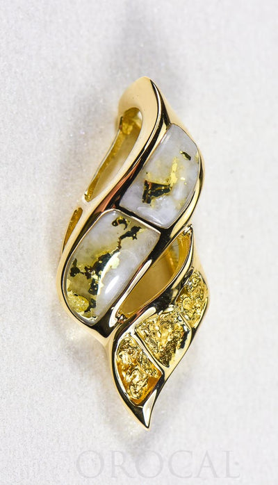 "Gold Quartz Pendant  ""Orocal"" PN649NQ Genuine Hand Crafted Jewelry - 14K Gold Yellow Gold Casting"