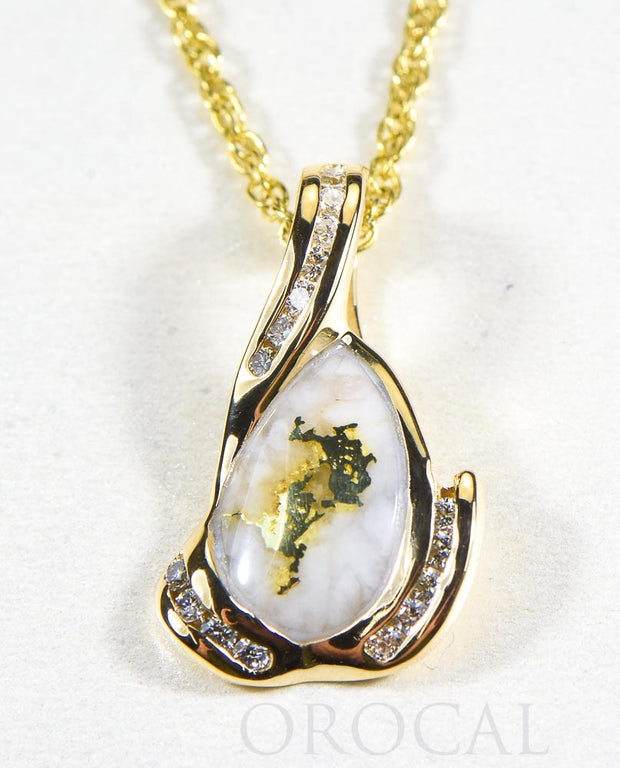 "Gold Quartz Pendant  ""Orocal"" PDL106SD32Q Genuine Hand Crafted Jewelry - 14K Gold Yellow Gold Casting"