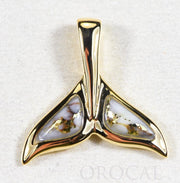 "Gold Quartz Pendant Whales Tail ""Orocal"" PWT44SQ Genuine Hand Crafted Jewelry - 14K Gold Yellow Gold Casting"