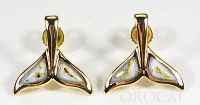 "Gold Quartz Whale Tail Earrings ""Orocal"" EWT44SQ Genuine Hand Crafted Jewelry - 14K Gold Casting"