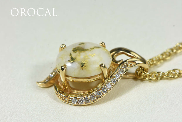 "Gold Quartz Pendant ""Orocal"" PN1126DQ Genuine Hand Crafted Jewelry - 14K Gold Yellow Gold Casting"