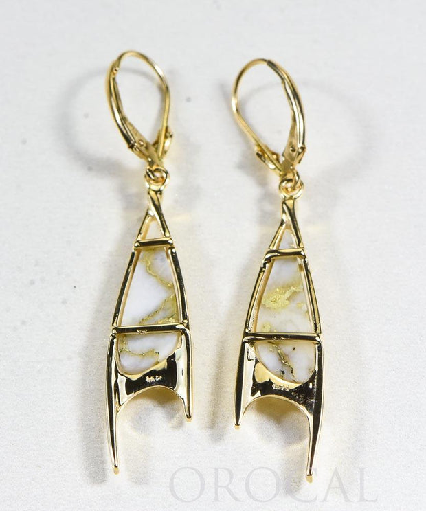 "Gold Quartz Earrings ""Orocal"" EN3700Q/LB Genuine Hand Crafted Jewelry - 14K Gold Casting"