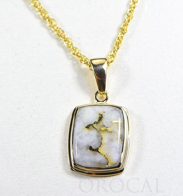 "Gold Quartz Pendant  ""Orocal"" PP1341Q Genuine Hand Crafted Jewelry - 14K Gold Yellow Gold Casting"