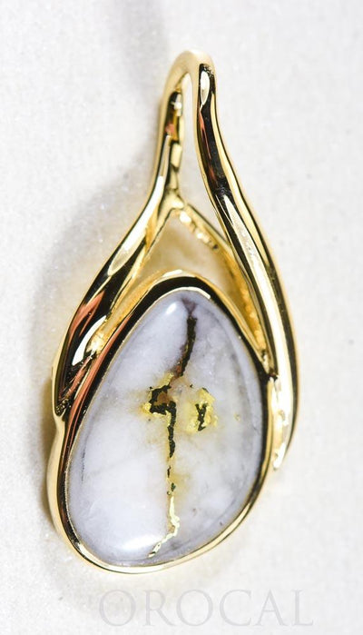 "Gold Quartz Pendant  ""Orocal"" PSC128Q Genuine Hand Crafted Jewelry - 14K Gold Yellow Gold Casting"