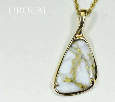 "Gold Quartz Pendant ""Orocal"" PSC100QX Genuine Hand Crafted Jewelry - 14K Gold Yellow Gold Casting"
