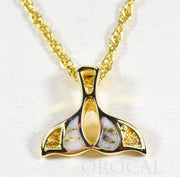 "Gold Quartz Pendant Whales Tail ""Orocal"" PWT21NQ Genuine Hand Crafted Jewelry - 14K Gold Yellow Gold Casting"