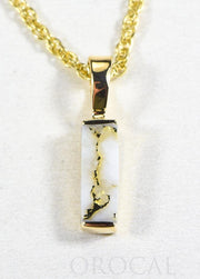 "Gold Quartz Pendant  ""Orocal"" PN894SQ Genuine Hand Crafted Jewelry - 14K Gold Yellow Gold Casting"