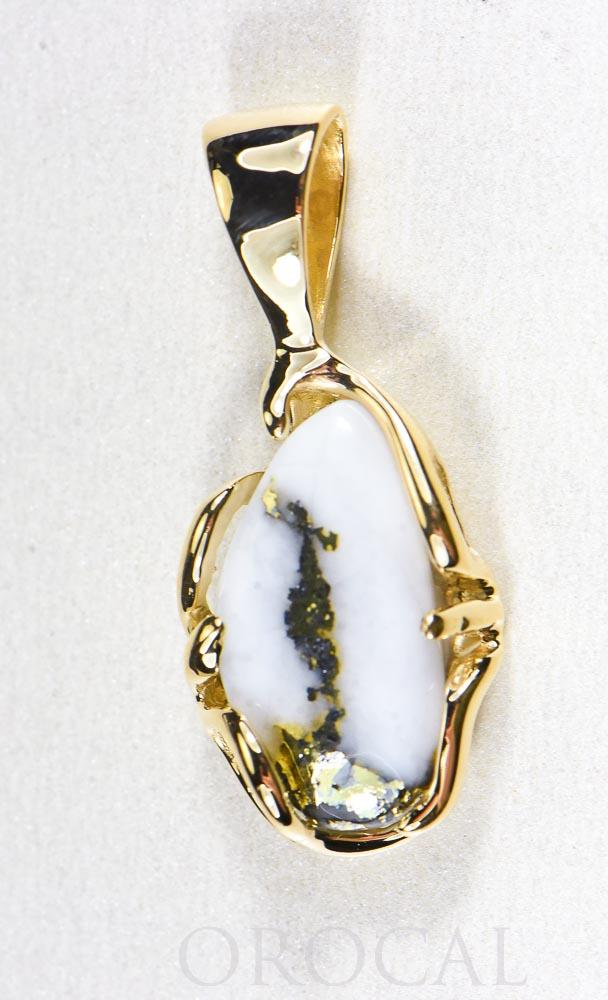 "Gold Quartz Pendant  ""Orocal"" PRL1031Q Genuine Hand Crafted Jewelry - 14K Gold Yellow Gold Casting"