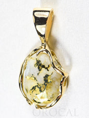 "Gold Quartz Pendant  ""Orocal"" PRL232LQ Genuine Hand Crafted Jewelry - 14K Gold Yellow Gold Casting"