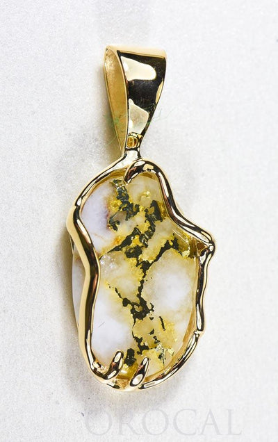 "Gold Quartz Pendant  ""Orocal"" PRL232XLQ Genuine Hand Crafted Jewelry - 14K Gold Yellow Gold Casting"