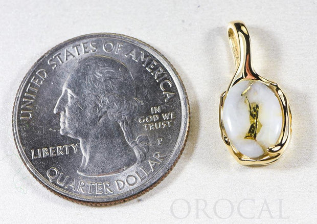 "Gold Quartz Pendant  ""Orocal"" PRL958Q Genuine Hand Crafted Jewelry - 14K Gold Yellow Gold Casting"