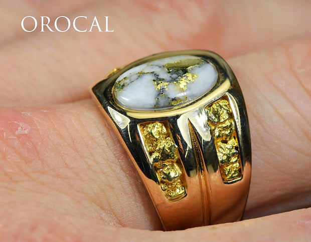 "Gold Quartz Ring ""Orocal"" RMDL77Q Genuine Hand Crafted Jewelry - 14K Gold Casting"