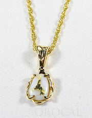 "Gold Quartz Pendant  ""Orocal"" PRL964Q Genuine Hand Crafted Jewelry - 14K Gold Yellow Gold Casting"