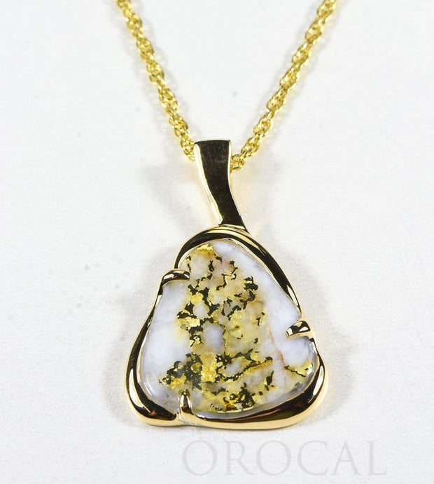 "Gold Quartz Pendant  ""Orocal"" PSC115LQ Genuine Hand Crafted Jewelry - 14K Gold Yellow Gold Casting"