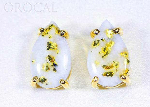 "Gold Quartz Earrings ""Orocal"" E13*8Q Genuine Hand Crafted Jewelry - 14K Gold Casting"